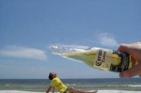 Big Corona Beer Optical Illusion Image